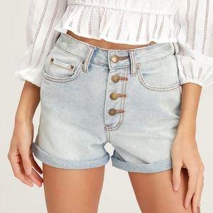 Billabong Button Front Light Wash Denim Shorts